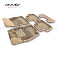 Текстильные 3D коврики Euromat3D Business в салон для Jaguar XJ (2014-) № EMC3D-002754T Бежевые